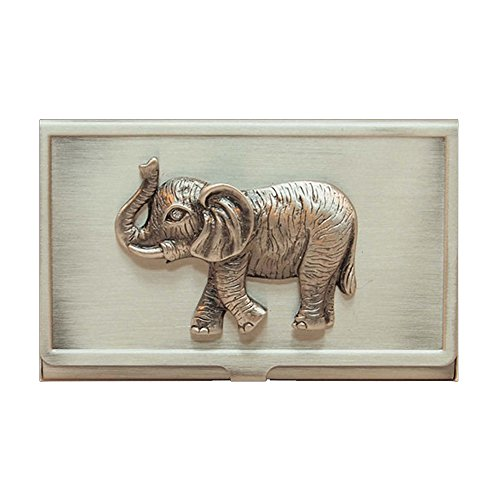 All For Giving Elephant Business Card Carrying Case, Pewter