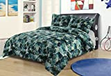 Full/Queen Camo Boys Bedding Comforter Bed Set Blue Green Army Hunting Camouflage