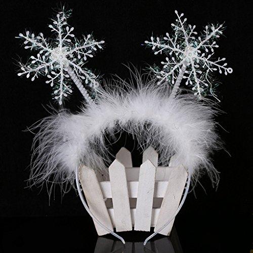 cuhair 1pc Christmas Feather Snowflake Headband Hair Band Hair Hoop Hair Accessories For Kid girl -
