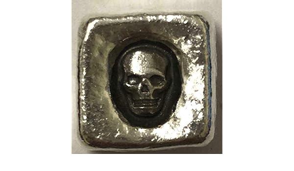 "1 TR//OZ MK BARZ  /""SKULL CUBE/""  .999 Fine Silver"