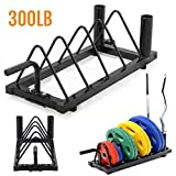 Yaheetech Horizontal Barbell Bumper Plate Storage Rack with Handle and Wheels