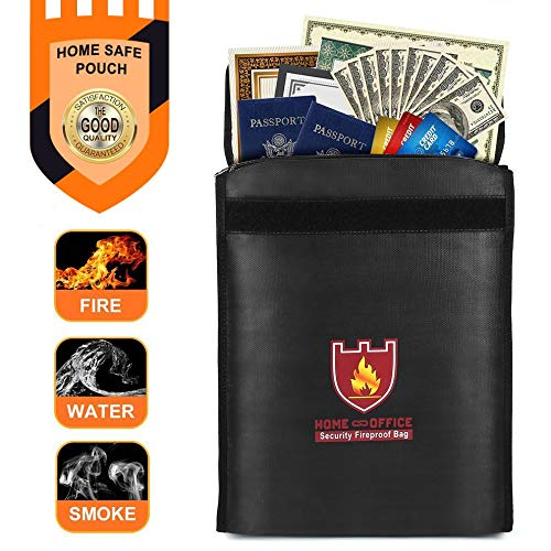 E.I.H. Security Fireproof Bag Security Fireproof Bag Money Document Bag Pouch Fire & Water Resistant Cash Holder Zipper Storage Bag for Home & Office