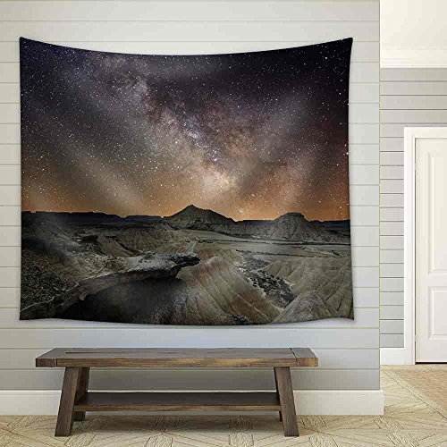 wall26 - Milky Way over the Desert of Bardenas, Spain - Fabric Wall Tapestry Home Decor - 51x60 inches by wall26
