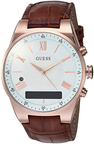 GUESS Men's CONNECT Smartwatch with Amazon Alexa and Genuine Leather Strap Buckle - iOS and Android Compatible -  Rose Gold