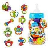 Baby Shower Gift Idea: Baby Rattle Teether Toy Set - Wishtime 9pcs Rattle