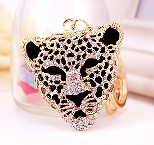 Elfstore Special 3D Luxury Gold Panther Leopard Head Rhinestone Crystal Keychain Purse Clipper Chain Gift Comes with Wooden Textured Charms as Free (Panther Rhinestone)