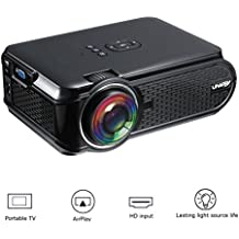 Esoku 3000 Luminous Portable Video Projector 1080P LCD Mini Projector Smartphone Projector Multimedia Home Theater Full HD Video Projector for PC Laptop PS4 XBOX Smartphone