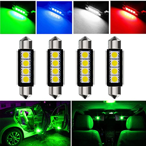 Botepon 4Pcs 211-2 212-2 578 LED Festoon Bulb 42mm 5050 3SMD Canbus Error For Car interior Dome/Map/Trunk/License Plate Light Green