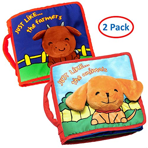 Cloth Book Baby Gift, Interactive Soft Books Two Pack for Newborn Babies, 1 Year Old Infant, Toddler, Educational Toy, Touch & Feel Activity, Crinkle Peekaboo, Baby Shower Giftbox, Machine Washable