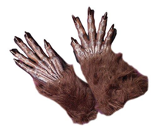 Fun World Unisex Werewolf Hands Adult Gloves, brown, -