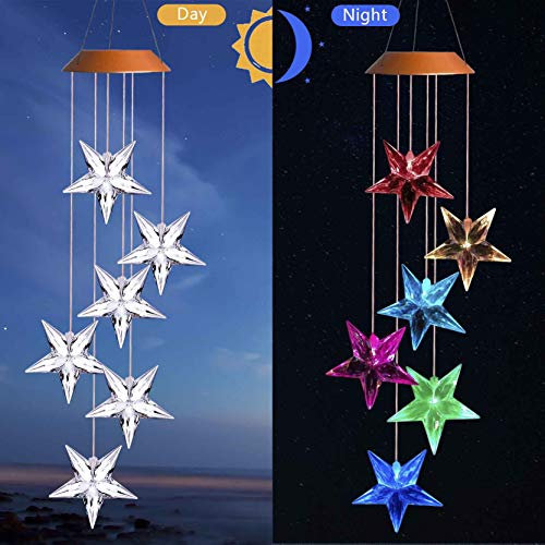 Solar Stars Wind Chimes,  Outdoor Waterproof Mobile Romantic LED Color-Changing Multi Solar Sensor Powered Wind Chimes Lights for Home, Yard, Night Garden, Party, Festival Decor