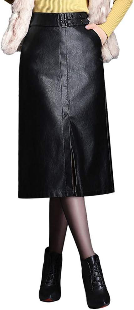 XSQR Primavera y otoño Ropa de Mujer Falda de Cuero Falda de Cuero ...