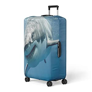 Pinbeam Luggage Cover Blue Threat Great White Shark Smiling Predator Smile Travel Suitcase Cover Protector Baggage Case Fits 26-28 inches