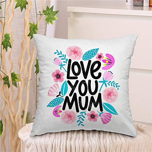 "oFloral Pink Floral Throw Pillow Covers Cushion Cover Love You Mum Modern Calligraphic Letter Happy Mothers Day Decorative Square Pillow Case 18""X18"" Pillowcase Home Decor for Sofa Bedroom Livingroom"