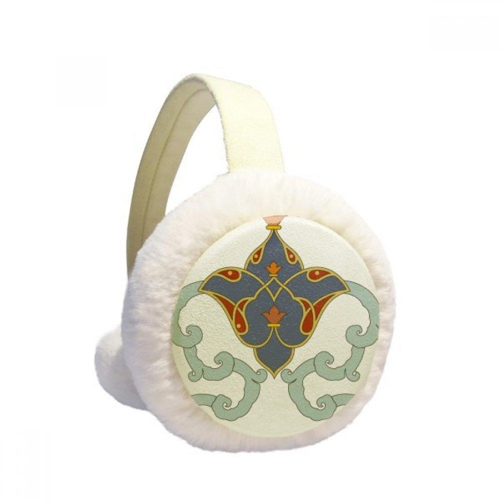 Colorful Modern Flower Leaf Parallel Pattern Winter Earmuffs Ear Warmers Faux Fur Foldable Plush Outdoor Gift