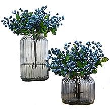 Mistari 20 Pcs Blue Plastic Artificial Flowers California Berries Blueberry Fruit Fake Silk Flowers Home Decorative Party Wedding (Blue)