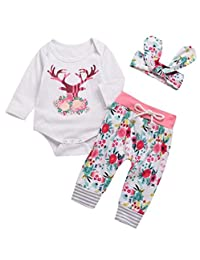 SUPEYA Baby Girls Reindeer Print Romper+Floral Pants Headband 3Pcs Set Outfits