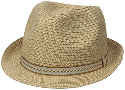 Henschel Men's Crushable Fedora with Braided Strips, Tan, ()