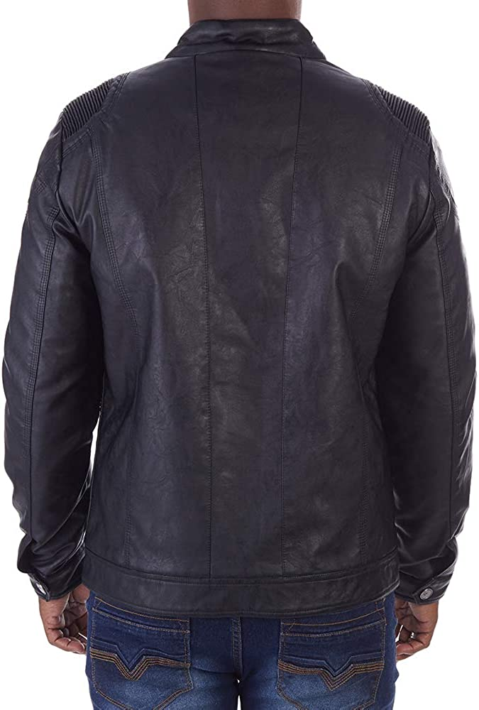 X-Ray Mens Slim Fit Over Washed Faux Leather Jacket with Stitch Detail On Shoulder