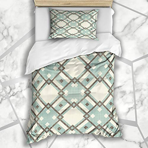 Six Twin Argyle Sock - Ahawoso Duvet Cover Sets Twin 68X86 Diamond Beige Socks Retro Geometric Pattern Blue Grey Abstract Harlequin Argyle Brown Circus Classic Microfiber Bedding with 1 Pillow Shams