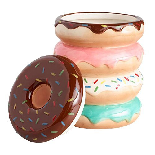 Donut Cookie Candy Jar with Cover  Colorful Bright Donuts with Sprinkles Design | Sweets Chocolate Candies and Confection Keeper Jars | Gift Ideas Decoration Collection Party Favors Jar