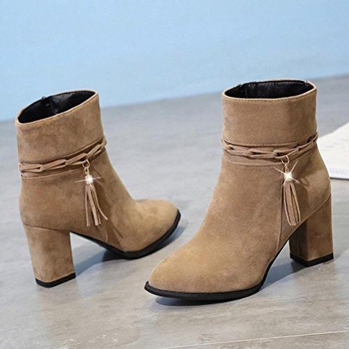 Kvinners Støvler, Hatop Kvinners Høy Hæl Ankel Boots Kort Plysj Pekte Tå Boot Ankelen Støvler Hæler Khaki