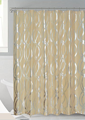 Luxurious Bold Metalic Moroccan Trellis Shower Curtain Set with 12 Hooks 72