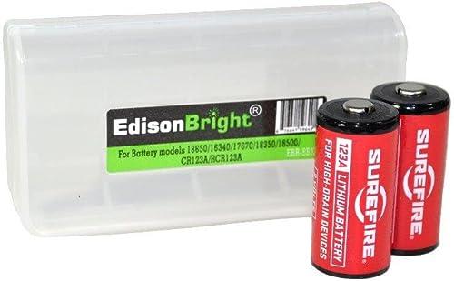 EdisonBright SureFire EB1 Backup Dual Output LED 300 Lumens Compact Tactical Flashlight, Black w 2 X SureFire CR123A Batteries BBX3 Battery Carry case Bundle