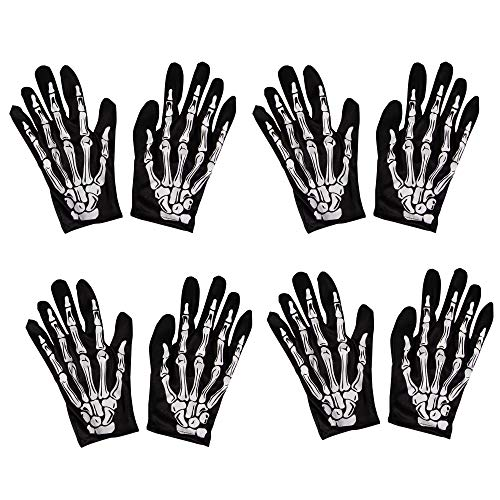 Halloween Skeleton Hand Gloves - 4-Pair Finger Bone Print Costume Accessory, Men Women Teen
