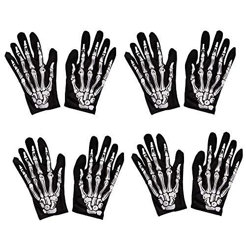 Halloween Skeleton Hand Gloves - 4-Pair Finger Bone Print Costume Accessory, Men Women Teen