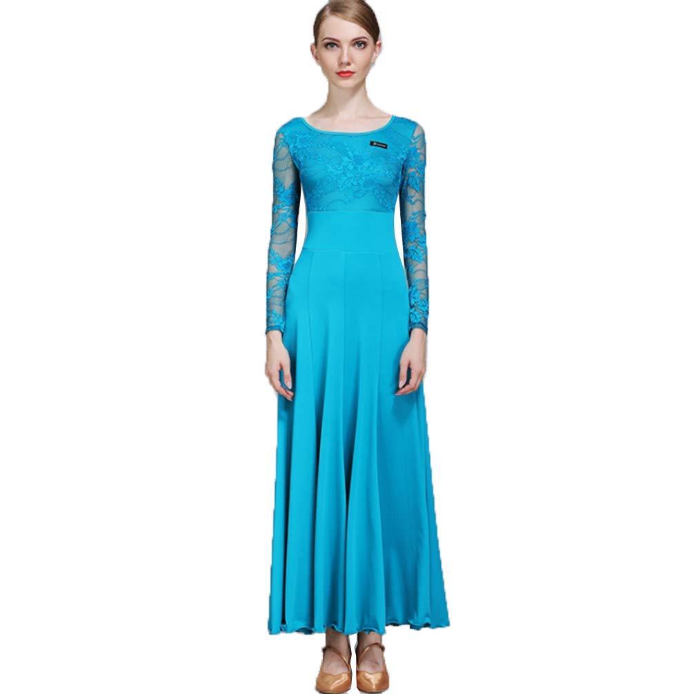 Bleu Dentelle Manches Femmes Salle de Bal Robes de Danse Moderne Waltz Pratique Costume de Danse Perforhommece Robes pour Les Filles M