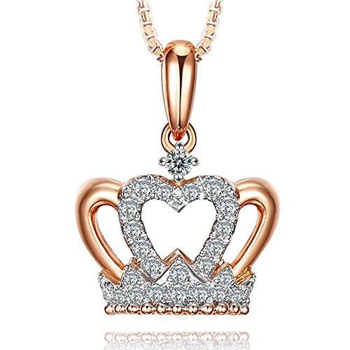 Amazing Crown Fine Natural Diamond 14K Rose Gold Anniversary Wedding Pendant Set by Kardy