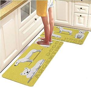 "Anti Fatigue Kitchen Floor Mat,Set of 2,Waterproof,Non Slip,Eco-Friendly Safe Material,Dog Dogo Argentino Cartoon Vector Illustration (15""x47""+15""x23"") 6"