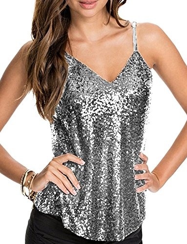 Inorin Womens Sexy Sequin Top Camisole Backless Spaghetti Strap V Neck Summer Clubwear Tank ()