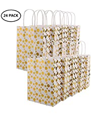 XNX 24 Pack Paper Gift Bags Party Favor Bags Recyclable Goodie Bags for Birthdays, Weddings, Baby Showers,Shopping.Gold Foil Stars Design, White(15 * 21 * 8cm)
