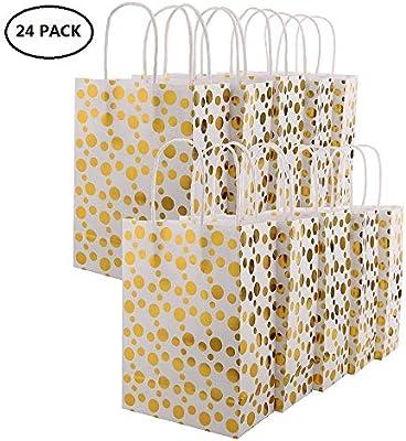 XNX Paquete de 24 Bolsas de Regalo de Papel Bolsas de Regalos para Fiestas Bolsas de Regalos reciclables para cumpleaños, Bodas, Baby Shower, Compras. ...