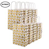 XNX 24 Pack Paper Gift Bags Party Favor Bags Personalized Gift Bags Recyclable Goodie Bags for Birthdays, Weddings, Baby Showers,Shopping.Gold Foil Stars Design, White(15 * 21 * 8cm) (Gold Foil Dot)