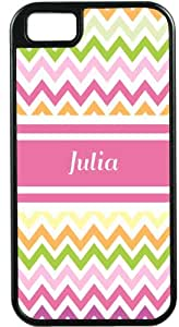 """Rikki KnightTM """"Julia"""" Pink Chevron Name Black Tough-It Case Cover for iPhone5 & 5s (Double Layer case with Silicone Protection)"""