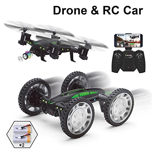 FPV RC Drone with Camera Live Video, Rolytoy Remote Control Car for Kids Adults, 2 in 1 Wifi Quadcopter Toy 360° Flip Headless Mode 2pcs 650mAh Batteries