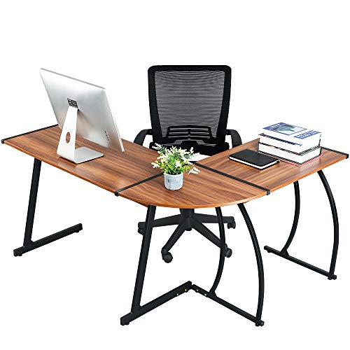 GreenForest Office Desk L-Shape Corner Computer PC Table Workstation 3-Piece for Home,Switch 2 Sides,Bright Walnut