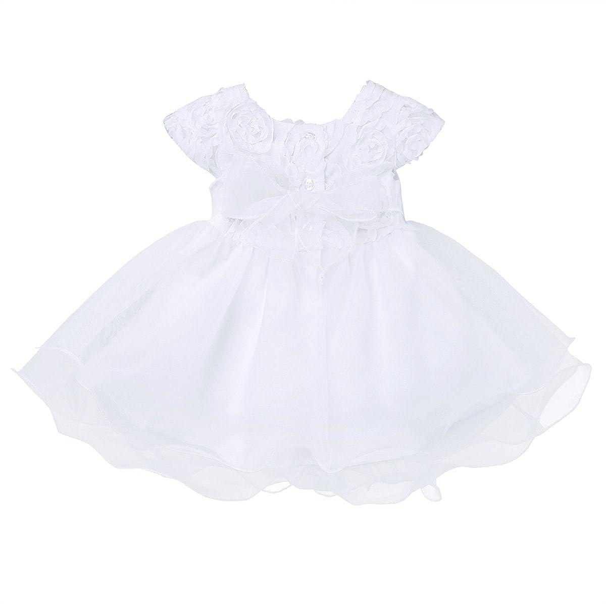 TiaoBug 3 Meses a 24 Meses Vestido de Flor Rosa para Recién Nacidas de Cumpleaños Boda Bautizo Gala Vestido con Tutú Verano Infántil Pricesa Niñas
