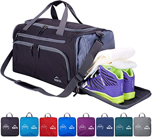Venture Pal 20 Packable Sports Gym Bag with Wet Pocket & Shoes Compartment Travel Duffel Bag for men and Women-Black