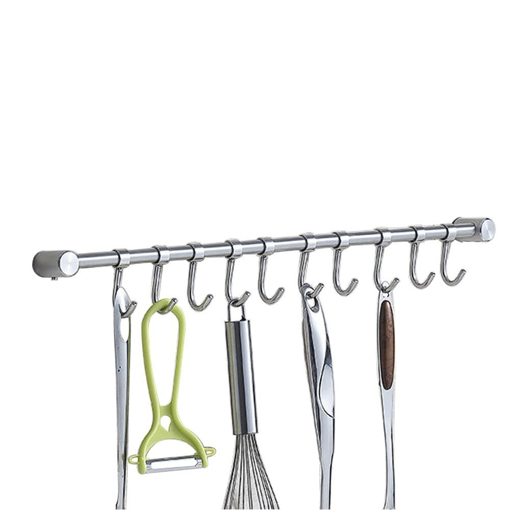 Kitchen Wall Hanging Cookware Rack with 10 Adjusted Hooks, Wall Mount Rail, Utensil Storage Organizer Rcks, Neatly Organizes, Stainless Steel, Brushed Nickel, Lenght 19-5/8 inch Generic