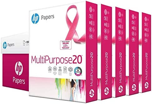 HP Printer Paper 8.5x11 MultiPurpose 20 lb 5 Ream Case 2500 Sheets 96 Bright Made in USA FSC Certified Copy Paper HP Compatible 115100PC