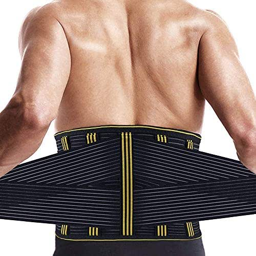 Lumbar Back Brace Support for Lower Back Pain Relief, Waist Trainer Trimmer for Men Women Fitness - Adjustable Back Straps for Sciatica, Spinal Stenosis, Scoliosis or Herniated Disc