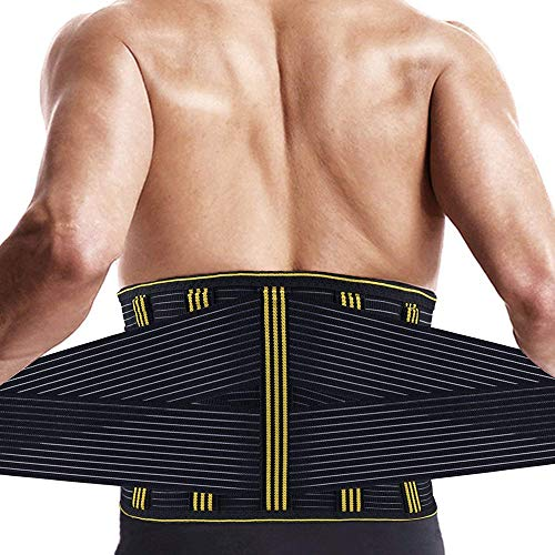 Lumbar Back Brace Support for Lower Back Pain Relief, Waist Trainer Trimmer for Men Women Fitness - Adjustable Back Straps for Sciatica, Spinal Stenosis, Scoliosis or Herniated Disc(XL)