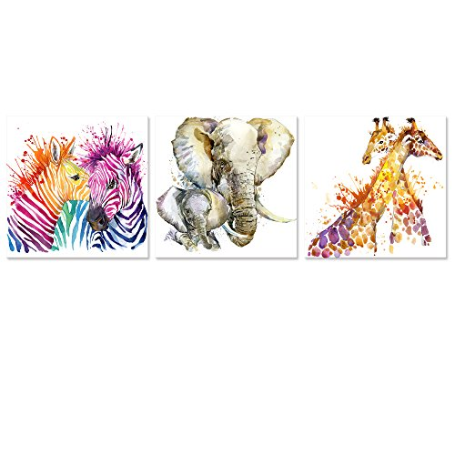 Visual Art Decor Abstract Animals Canvas Wall Art Zebra Giraffe Elephant Wall Decal Art Animals Watercolor Painting Prints Decor for Bedroom Living Room Classroom Gift for Kids (20