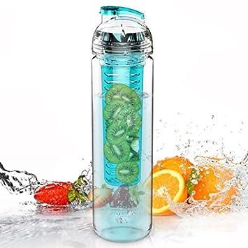 Tritan - Botella de 800 ml con Infusor de Esencia de Frutas - Color Azul Turquesa