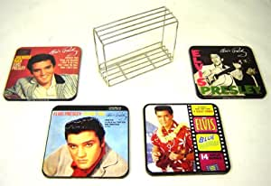 Elvis Presley Coaster Set In Wire Caddy