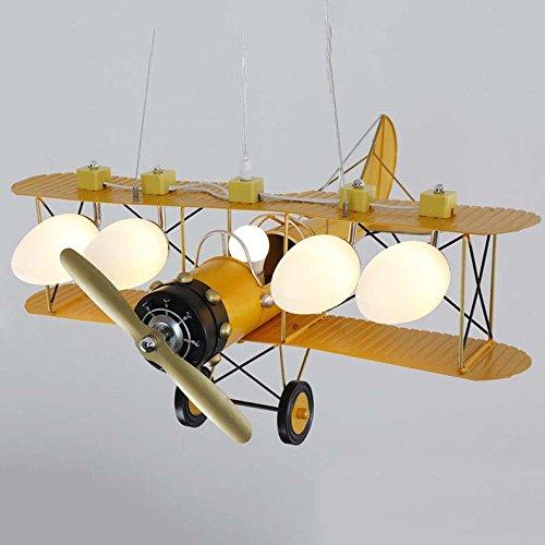 MEILING Avion Chandelier Jaune Chambre denfants Luminaire Gar/çon Chambre de Bande Dessin/ée /Éclairage Quatre T/êtes 68 80 cm 71